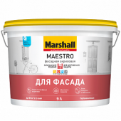 Marshall Maestro Фасадная Акриловая краска водно-дисперсионная для фасадных поверхностей глубокоматовая база BW (4,5л)